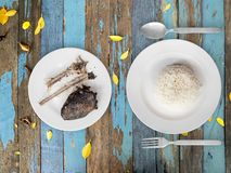 Poor meal of rice and fish bones. Royalty Free Stock Images