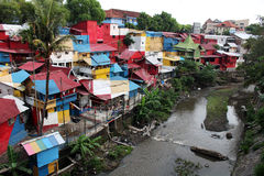 Poor neigborhood north of Malioboro. YOGYAKARTA/INDONESIA - CIRCA NOVEMBER 2015: View of one of one of the poorest, but completely colorful, neigborhoods north Royalty Free Stock Images