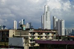 Poor neighborhood houses and skyscrapers on the background in Panama City, Panama Royalty Free Stock Image