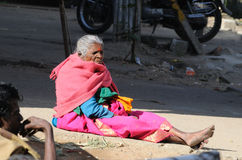 A poor old lady in slum Royalty Free Stock Photos