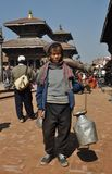 Poor old man in Patan, Nepal Royalty Free Stock Image