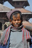 Poor old man in Patan, Nepal Stock Photos