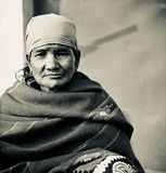A poor old woman isolated closeup portraits unique photo. A poor old woman of Bangladesh isolated closeup portraits unique black and white photo royalty free stock image
