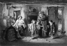 Poor Orphan Boy Begs at Cottage Door. On engraving from 1866. Engraved by P.Lightfoot after a painting by T.Faed Royalty Free Stock Photo
