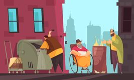 Poor People Banner. Poor people surviving winter on city streets searching for food in garbage can flat banner vector illustration stock illustration