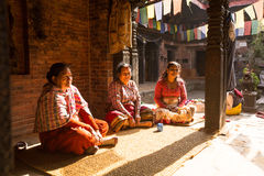 Poor people in his house. The caste system is still intact today but the rules are not as rigid as they were in the past. BHAKTAPUR, NEPAL - CIRCA DEC, 2013 Royalty Free Stock Photo