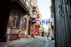 Poor people living area of Tarlabasi with grunge walls of old buildings in Istanbul stock image