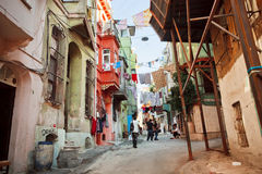 Poor people living in oldest streets of area Tarlabasi, Istanbul Stock Images