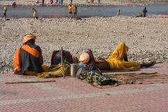 Poor people near the River Ganges in Haridwar, India Stock Image
