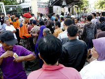 Poor people. Queued to get zakat to celebrate Eid al-Fitr in the city of Solo, Central Java, Indonesia Stock Images