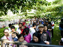 Poor people. Queued to get zakat to celebrate Eid al-Fitr in the city of Solo, Central Java, Indonesia Stock Photos