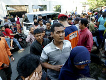 Poor people. Queued to get zakat to celebrate Eid al-Fitr in the city of Solo, Central Java, Indonesia Stock Photography