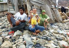 Poor people. In the settlement of fishermen in one city in Indonesia Royalty Free Stock Image