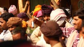 Poor people in village Rajasthan India stock footage