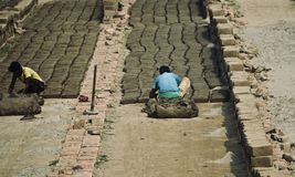 Poor people are working in a brick field royalty free stock photo