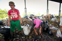 Poor people working in a scavenging at the dump Stock Image