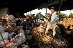 Poor people working in a scavenging at the dump Stock Images
