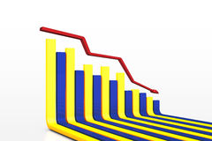 The poor performance of the business. The decline in the performance of the business graph with arrow vector illustration