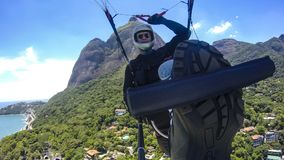 Poor physical piloting your own paraglider. In Rio de Janeiro, Brazil South America Stock Photography