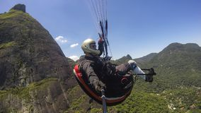 Poor physical piloting your own paraglider. In Rio de Janeiro, Brazil South America Stock Image