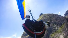 Poor physical piloting your own paraglider stock photography