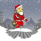 Poor, poor Santa. Metaphor- A poor Santa Claus in the middle of a street Royalty Free Stock Photos
