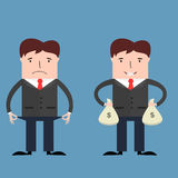 Poor and rich businessmen illustration Stock Photo