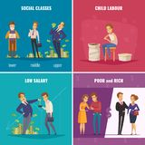Poor And Rich 2x2 Design Concept. With social classes low salary child labour flat square icons cartoon vector illustration Stock Images