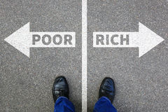 Poor rich poverty finances financial success successful company. Business concept finance stock image
