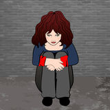 Poor, sad little child girl sitting against the concrete wall. vector illustration. Royalty Free Stock Images