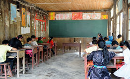 Poor school in the old village in China stock images
