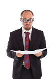 Poor Sight Businessman reading Royalty Free Stock Photography