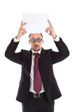 Poor Sight Businessman showing a board Royalty Free Stock Images