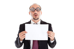 Poor Sight Businessman showing a sheet Royalty Free Stock Photos