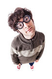 Poor sight casual guy Royalty Free Stock Photo