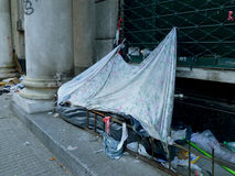 Poor on the street. Poor living on montevideo´s streets Royalty Free Stock Images
