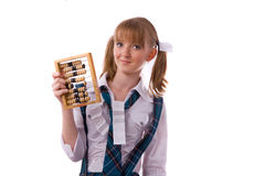 Poor student with abacus. Stock Photo