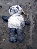 Poor Teddy. The nightmare of toy, the forgetfulness... A boy lost a lovely toy Stock Image