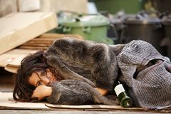 Poor tramp woman Stock Photography