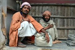 Poor. Two poor men in India. Rishikesh Royalty Free Stock Photos