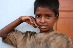 Poor Uneducated Boy from Rural India. Seen at Mysore (Near Chamundi Hills temple Royalty Free Stock Photo