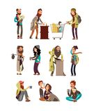 Poor unhappy homeless cartoon people needing financial help. Vector characters set. Illustration of beggar cartoon, character poverty and dirty in depressio Stock Images