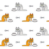 Poor unhappy hungry cats seamless pattern. Poor unhappy skinny gray and red cats around empty bowls. Vector line seamless pattern color on white background Stock Photos