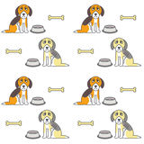 Poor unhappy hungry dogs seamless pattern. Stock Photos