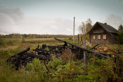 Poor village street in Vepsskaya hills, Russia Royalty Free Stock Photography