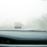 Poor visibility on the road. View from the passenger compartment Stock Images