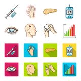 Poor vision, headache, glucose test, insulin dependence. Diabetic set collection icons in cartoon,flat style vector. Symbol stock illustration Stock Image