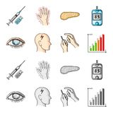 Poor vision, headache, glucose test, insulin dependence. Diabetic set collection icons in cartoon,monochrome style. Vector symbol stock illustration Royalty Free Stock Photo