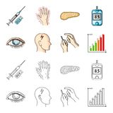 Poor vision, headache, glucose test, insulin dependence. Diabetic set collection icons in cartoon,outline style vector. Symbol stock illustration Stock Photo
