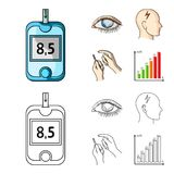 Poor vision, headache, glucose test, insulin dependence. Diabetic set collection icons in cartoon,outline style vector. Symbol stock illustration Royalty Free Stock Photos
